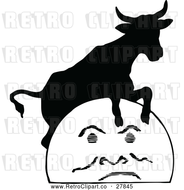 Vector Clip Art of Retro Cow Jumping over the Moon 2