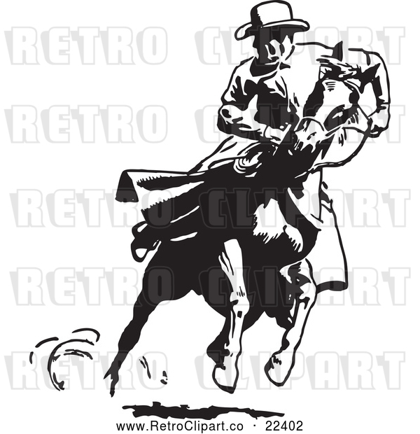 Vector Clip Art of Retro Cowboy Looking Back on a Running Horse