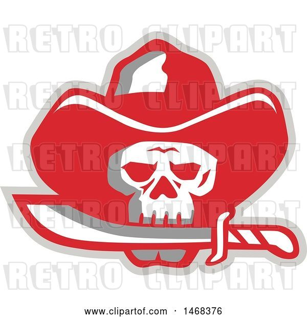 Vector Clip Art of Retro Cowboy Pirate Skull Biting a Knife