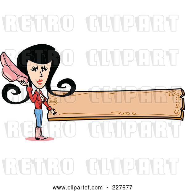 Vector Clip Art of Retro Cowgirl Lady Holding Her Hat and Standing by a Blank Wooden Sign
