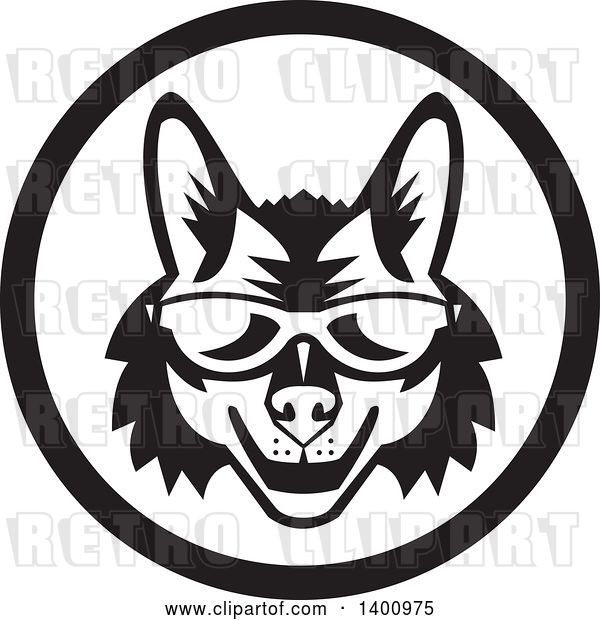 Vector Clip Art of Retro Coyote Face Wearing Sunglasses in a Circle