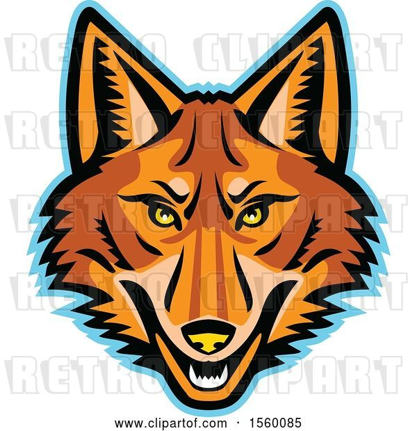 Vector Clip Art of Retro Coyote Mascot