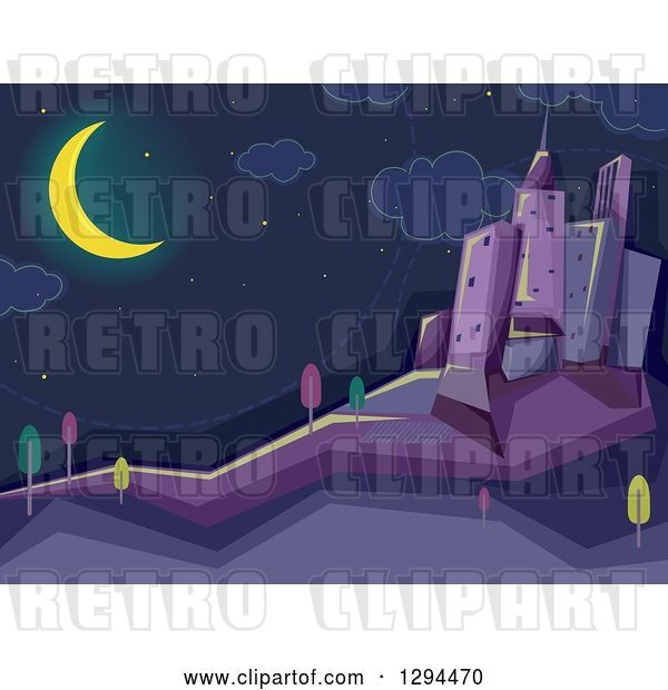 Vector Clip Art of Retro Crescent Moon Shining over a Dark City at Night