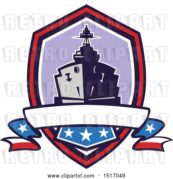 Vector Clip Art of Retro Crest with a Battleship with Stars and Stripes Flags