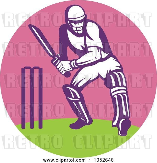 Vector Clip Art of Retro Cricket Batsman Logo - 2