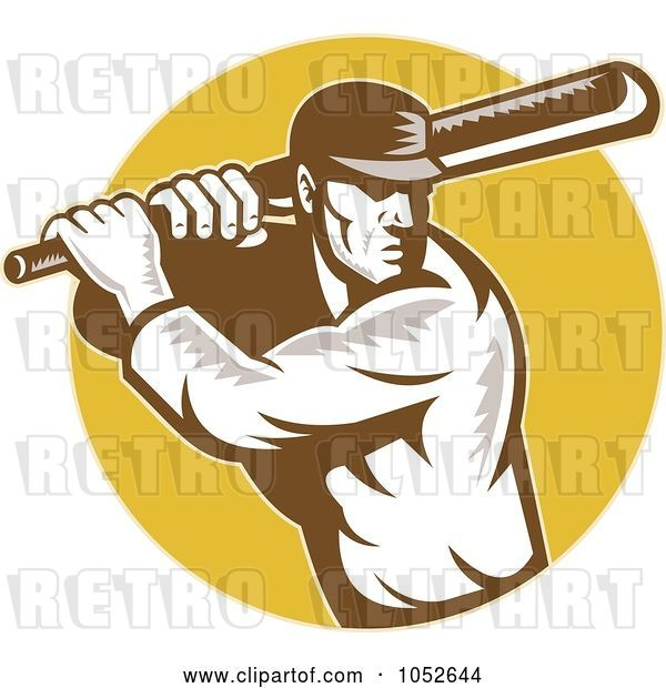 Vector Clip Art of Retro Cricket Batsman Logo - 3