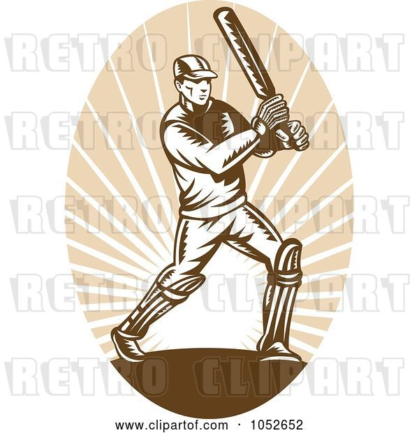 Vector Clip Art of Retro Cricket Batsman Logo - 4