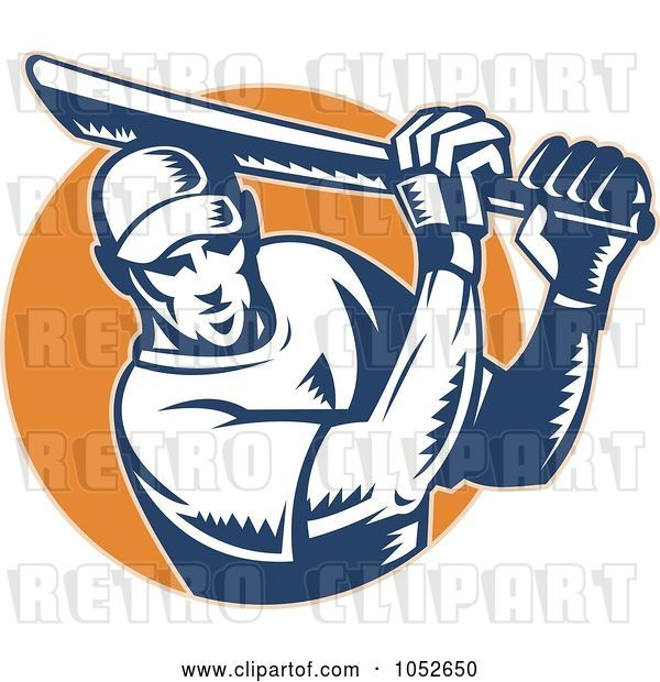 Vector Clip Art of Retro Cricket Batsman Logo - 8