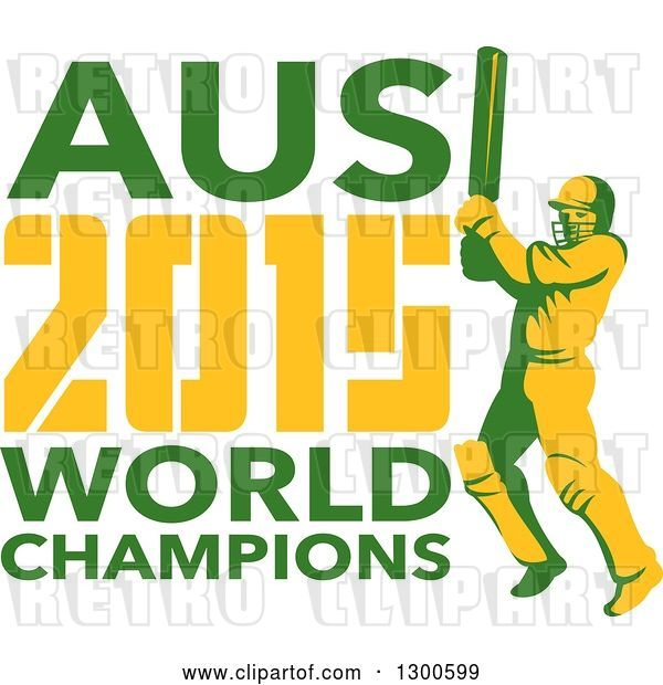 Vector Clip Art of Retro Cricket Player Batsman with AUS 2015 World Champions Text