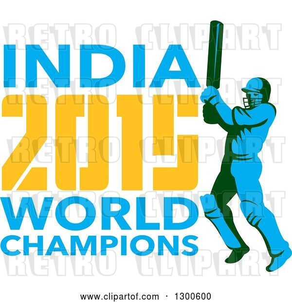 Vector Clip Art of Retro Cricket Player Batsman with INDIA 2015 World Champions Text