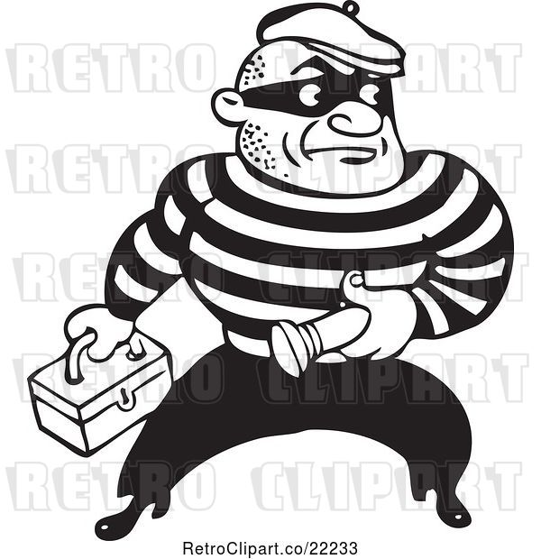 Vector Clip Art of Retro Criminal Carrying a Flashlight and Box