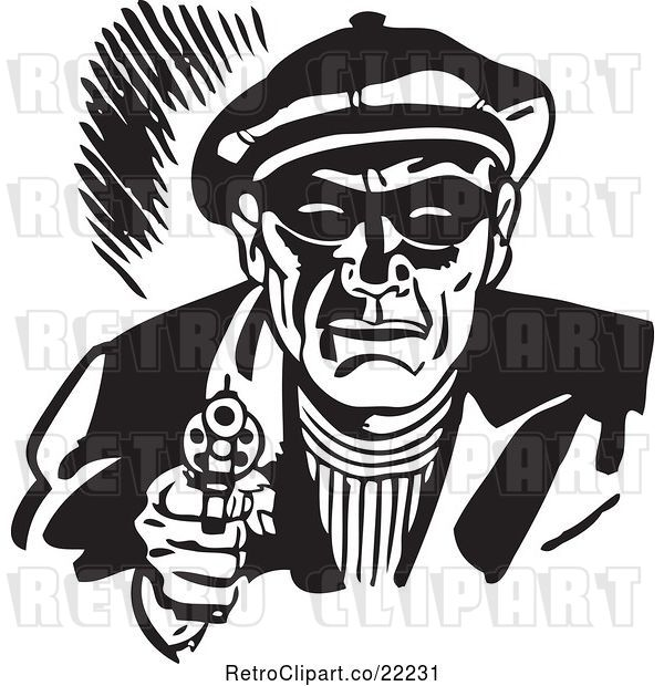 Vector Clip Art of Retro Criminal Pointing a Gun