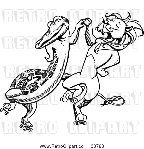 Vector Clip Art of Retro Crocodile Dancing with a Lion