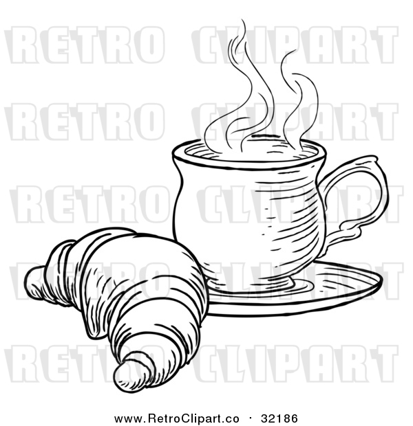 Vector Clip Art of Retro Croissant and Cup of Tea