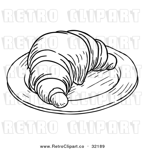 Vector Clip Art of Retro Croissant on a Plate