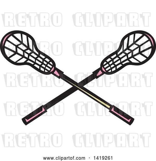 Vector Clip Art of Retro Crossed Lacrosse Sticks with Pink Handles