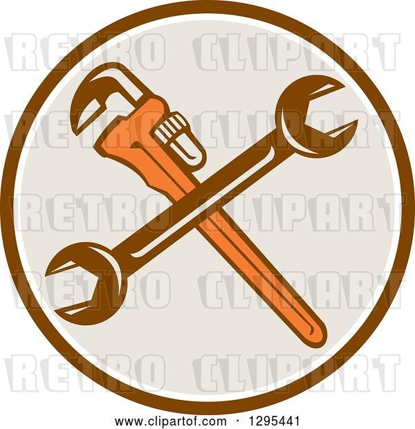Vector Clip Art of Retro Crossed Plumber Monkey Wrench and Spanner Wrench in a Brown White and Taupe Circle