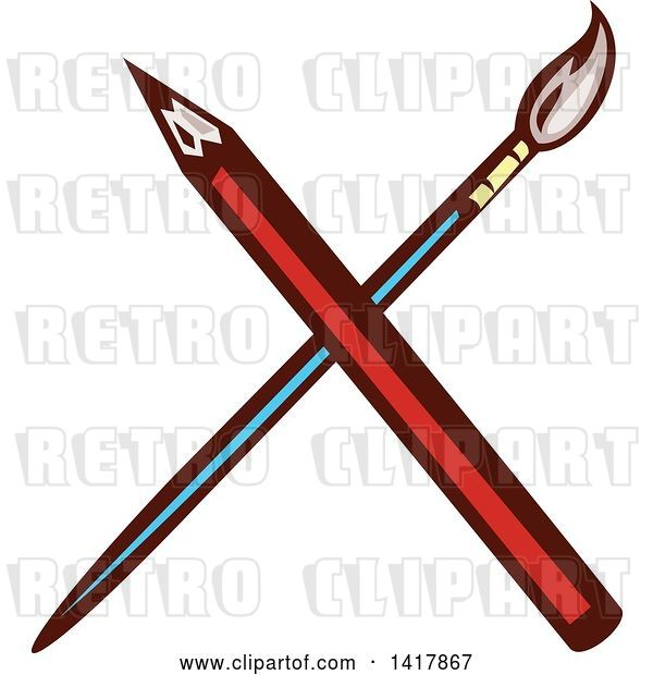 Vector Clip Art of Retro Crossed Red Pencil and Paintbrush
