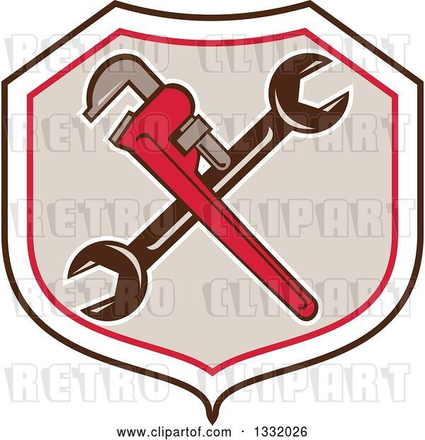 Vector Clip Art of Retro Crossed Spanner and Monkey Wrenches in a Black White Red and Tan Shield