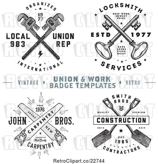 Vector Clip Art of Retro Crossed Tools and Keys with Sample Text