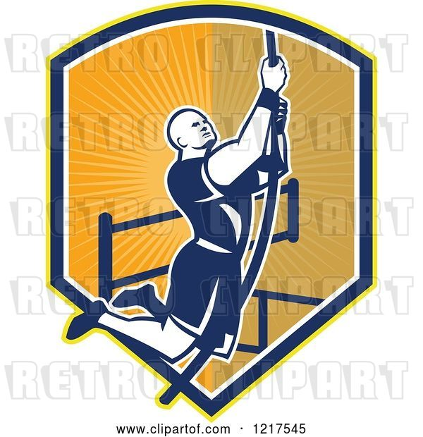 Vector Clip Art of Retro Crossfit Athlete Climbing a Rope over a Shield of Rays