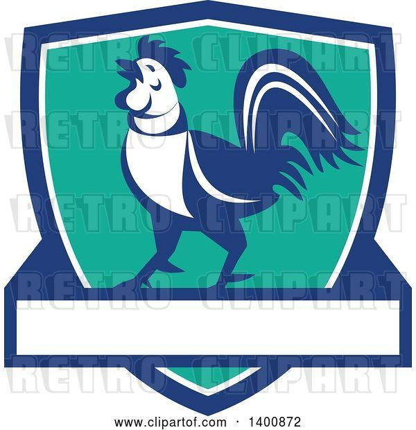 Vector Clip Art of Retro Crowing Rooster in a Blue White and Turquoise Shield