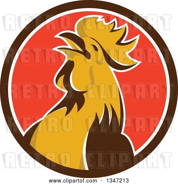 Vector Clip Art of Retro Crowing Rooster in a Brown White and Red Circle