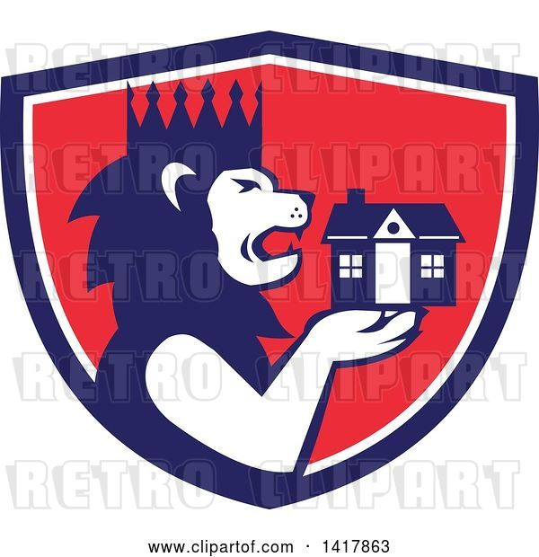 Vector Clip Art of Retro Crowned King Lion Holding a House in a Blue White and Red Crest
