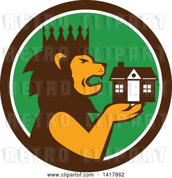 Vector Clip Art of Retro Crowned King Lion Holding a House in a Brown White and Green Circle