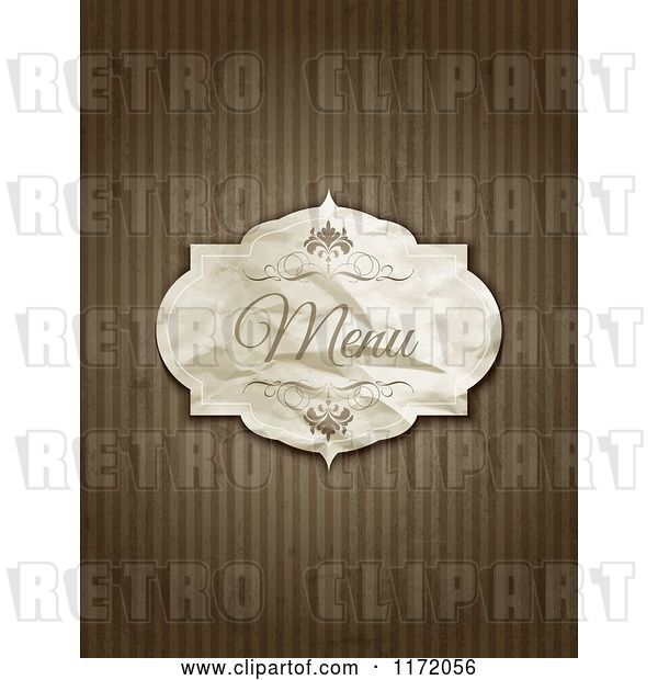 Vector Clip Art of Retro Crumpled Menu Label on Grungy Brown Stripes