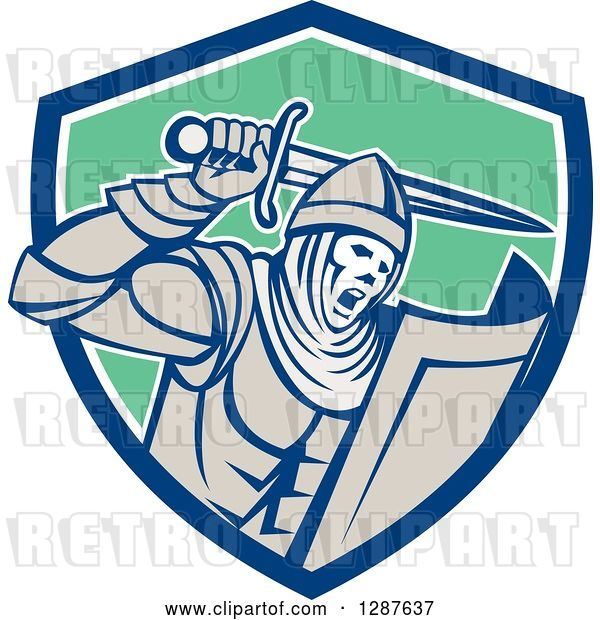 Vector Clip Art of Retro Crusader Knight Wielding a Sword in a Blue White and Green Shield