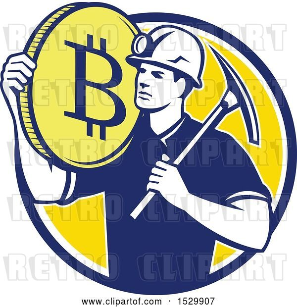 Vector Clip Art of Retro Crytocurrency Miner with a Bitcoin on His Shoulder and a Pickaxe