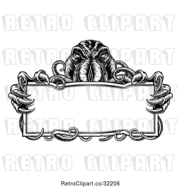 Vector Clip Art of Retro Cthulhu Octopus Holding a Blank Sign