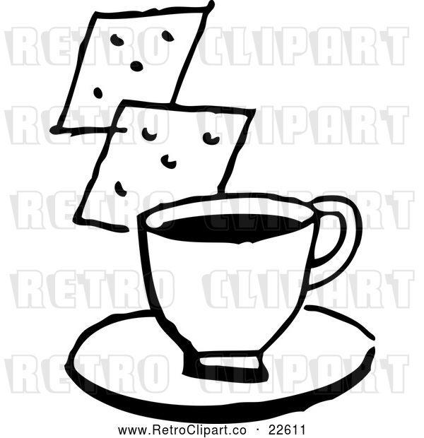 Vector Clip Art of Retro Cup of Coffee or Soup and Crackers