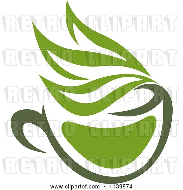 Vector Clip Art of Retro Cup of Green Tea or Coffee 8