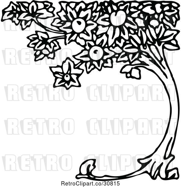 Vector Clip Art of Retro Curved Peach Tree