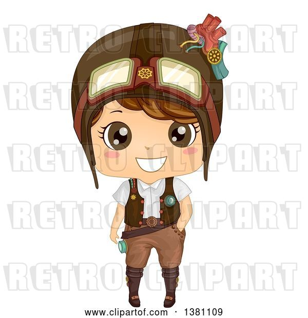 Vector Clip Art of Retro Cute Steampunk Boy Wearing a Helmet