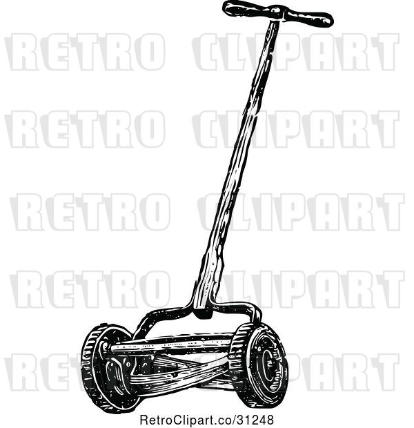 Vector Clip Art of Retro Cylinder Lawn Mower
