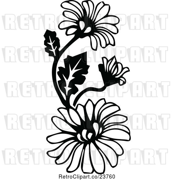 Vector Clip Art of Retro Daisies