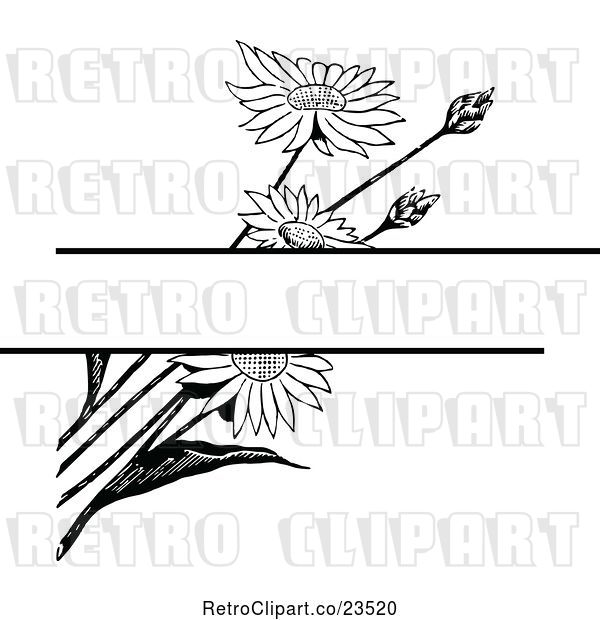 Vector Clip Art of Retro Daisy Flower Background with Copyspace