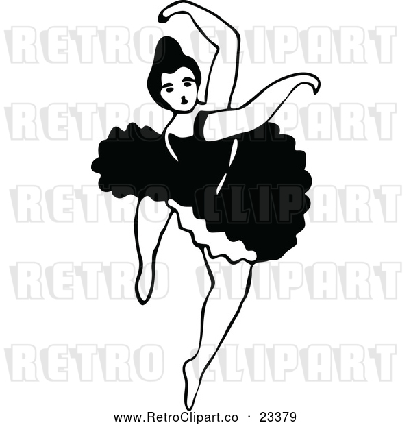 Vector Clip Art of Retro Dancing Ballerina 5