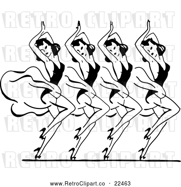 : Vector Clip Art of Retro Dancing Women in Harmony