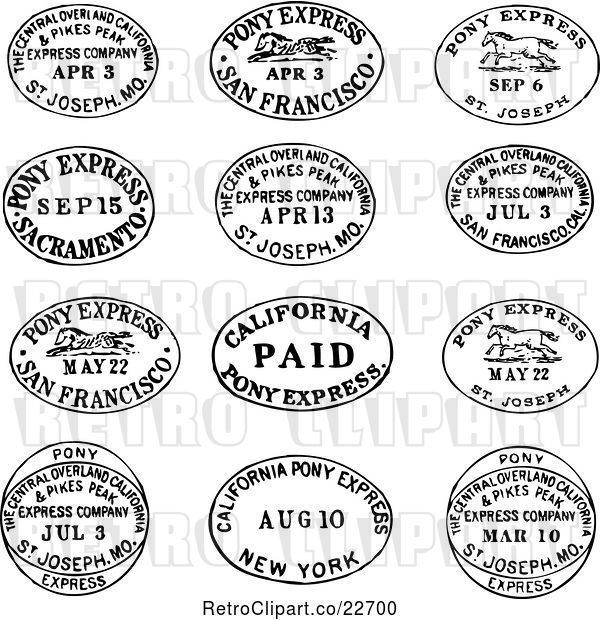 Vector Clip Art of Retro Date and Location Postmarks