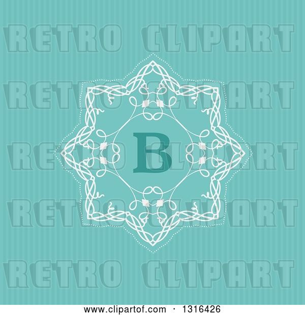 Vector Clip Art of Retro Decorative Design with Letter B over Turquoise Stripes