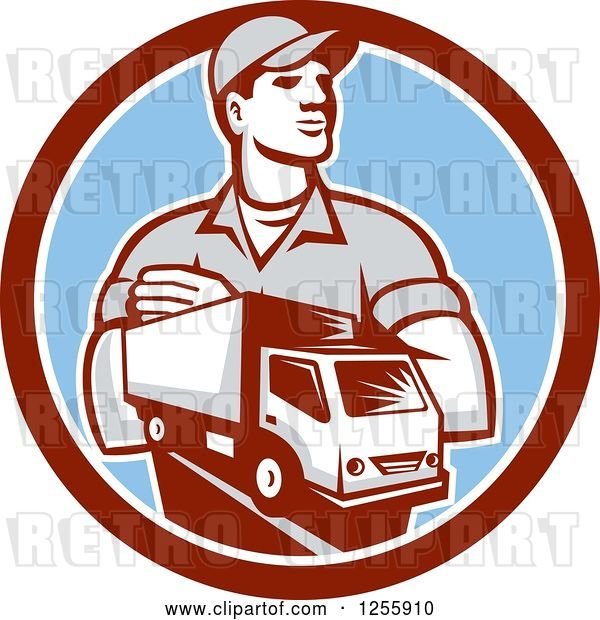 Vector Clip Art of Retro Delivery Guy and Truck in a Circle