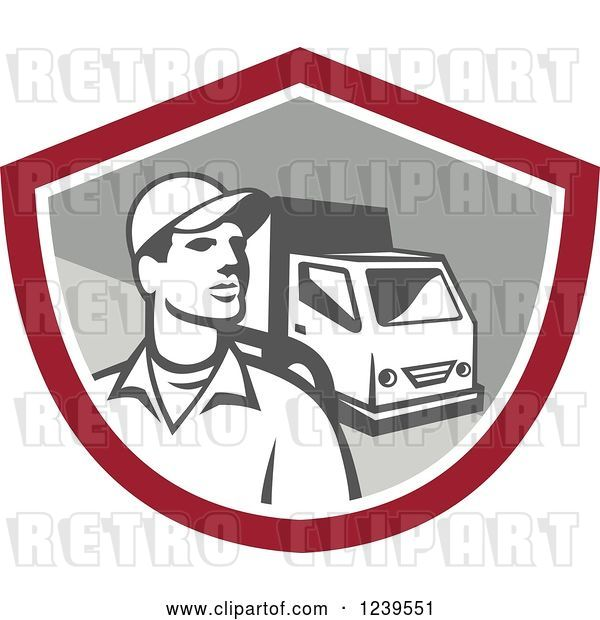 Vector Clip Art of Retro Delivery Guy and Truck in a Shield