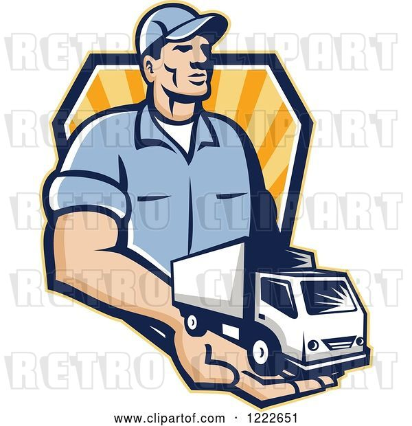 Vector Clip Art of Retro Delivery Guy Holding a Truck in His Hand over a Shield of Rays