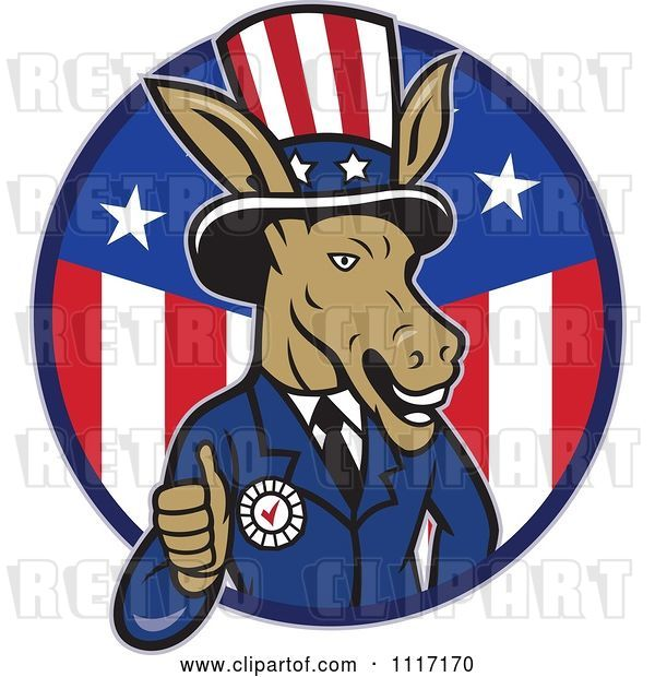 Vector Clip Art of Retro Democratic Party Donkey Uncle Sam Giving a Thumb up in an American Circle