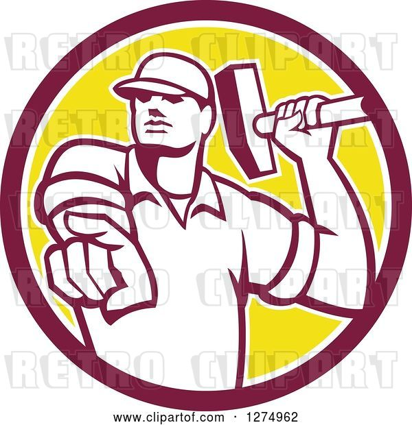 Vector Clip Art of Retro Demolition Worker Guy Holding a Hammer and Pointing Outwards in a Maroon White and Yellow Circle
