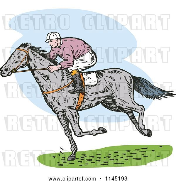 Vector Clip Art of Retro Derby Horse Race Jockey 3